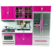 """My Modern Kitchen Oven Sink Refrigerator Battery Operated Toy Doll Kitchen Playset w/ Lights, Sounds, Perfect for Use with 11-12"""" Tall Dolls"""
