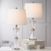 Regency Hill Modern Table Lamps Set of 2 with USB Charging Port Chrome and Glass Drum Shade for Living Room Family Bedroom Bedside