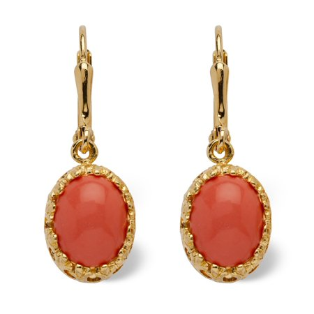 Orange Oval Simulated Coral 14k Yellow Gold-Plated Cabochon Filgree Drop Earrings 14k Gold Oval Coral