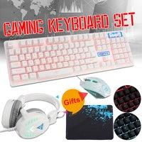 Kit 3 Ergonomics Metal Light Keyboard+Mouse+Headset Set Wired Game for PC