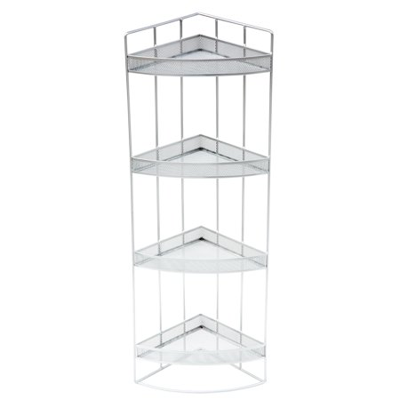 Pro Space Metal Mesh Shelving Bathroom Home Office Storage Organizer, 4-Tier,Silver