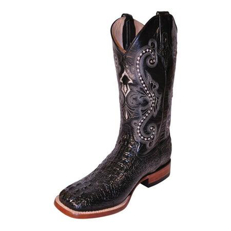 Ferrini Western Boots Mens Cowboy Caiman Gator Print Black 40393-04 (Gator Skin Cowboy Boots)