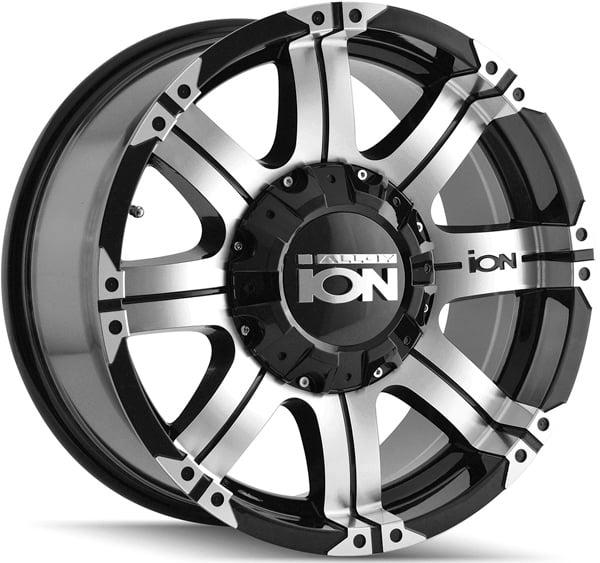 "18"" Inch Ion 187 18x9 8x165.1(8x6.5"")/8x170 -12mm Black/Machined Wheel Rim"