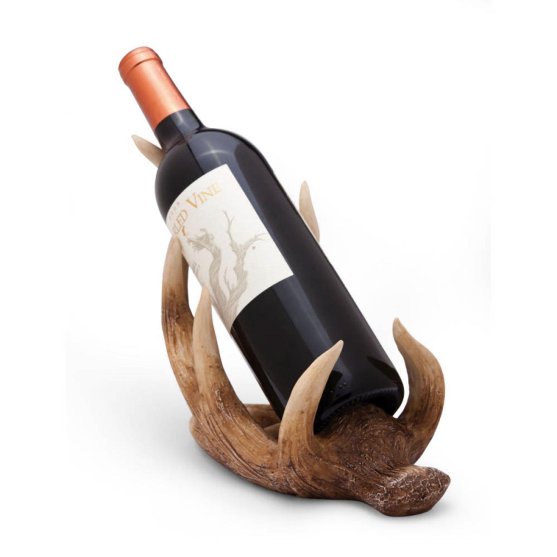 "10.5"" Decorative Rustic Cabin Christmas Antler Wine Bottle Holder"