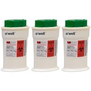 O'WELL Mini Sharps Container - Portable Safety Disposal Unit for Used Diabetes Test Strips & Lancets, with Cap That Clips Off Needle Tips (3 Pack)