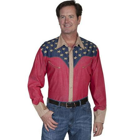 14b046b2a4 Scully - Scully Western Shirt Mens Long Sleeve Snap Star American P-850 -  Walmart.com