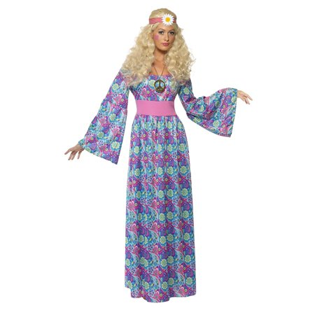 Smiffy's Women's Flower Child Costume Maxi Dress with Waist Tie and Bell Sleeves 60's Groovy Baby Serious fun Size 6-8 (60's Fancy Dress Costumes)