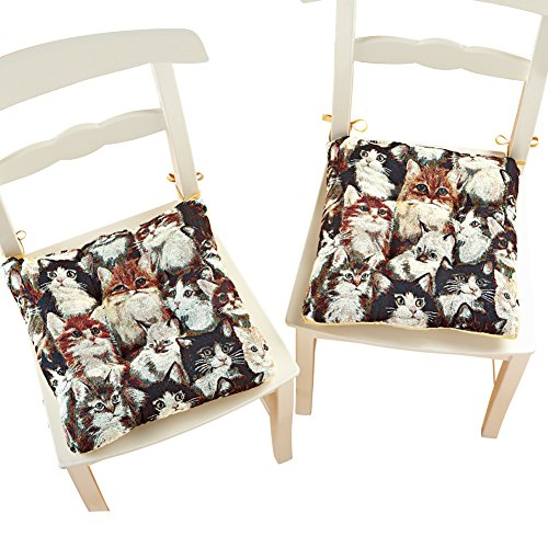 Cat Tapestry Chair Pads - Set of 2