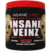 Insane Labz Insane Veinz Pre Workout Powder, Fruit Punch, 35 Servings