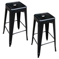 AmeriHome Loft Black Metal Bar Stool 2 Piece by Metal Bar Stools