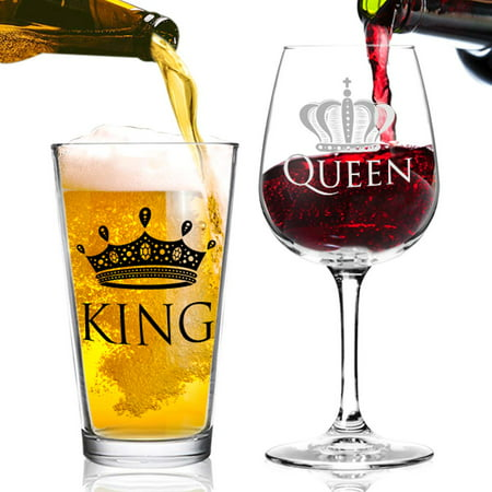 King and Queen Beer and Wine Glass Gift Set of 2 | Fun Novelty His and Hers or Husband Wife Drinkware | Couple, Newlywed, Anniversary Gift | Wedding Present or Favorite Couples Gift | USA Made Wine Beer Glass