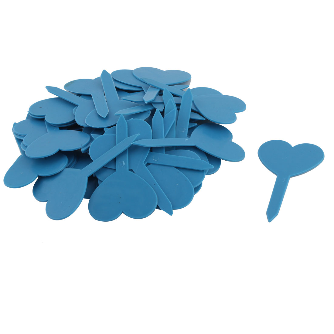 Household Garden Plastic Heart Shaped Plant Seed Tag Label Marker Blue 50pcs