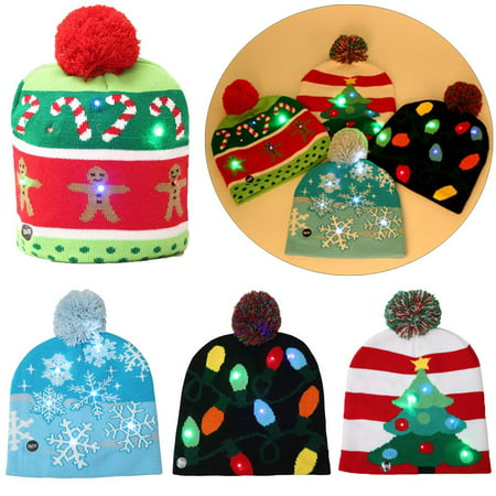A Christmas Story Hat (BadPiggies Christmas LED Light-up Knitted Hat Beanie Cap Lovely Colours Xmas Gift Adults Kids- 3 Flashing)