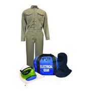 NATIONAL SAFETY APPAREL KIT2CVPR08NGBMD Flame-Resistant Coverall Kit,Kha,M,HRC2