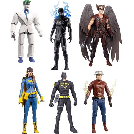 DC Multiverse King Shark Series Flash, Zoom, Batman, Batgirl, Hawkman & Joker Set of 6 Action Figures ()