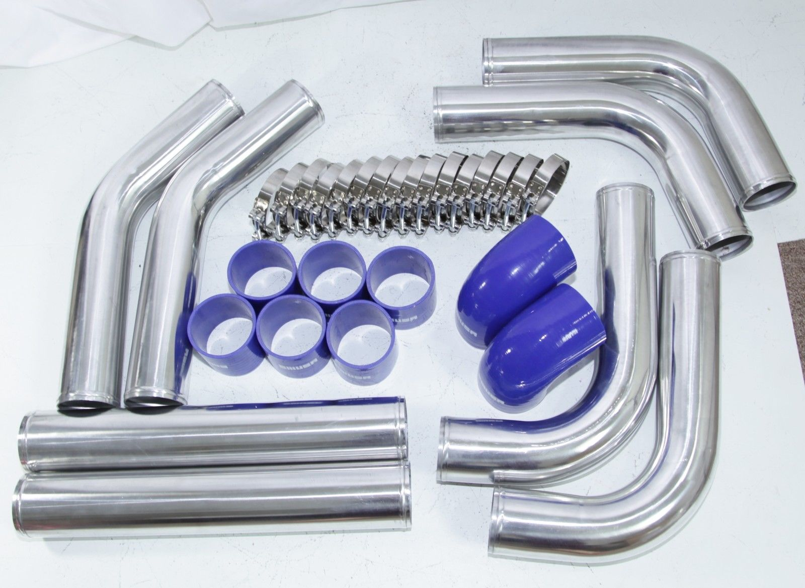 """blue Silicones+SS Clamps Universal DIY 3/"""" SILVER Intercooler Piping Kits"""
