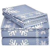 Beauty Threadz Flannel Sheet Set – Queen, Snowflake Dusty Blue