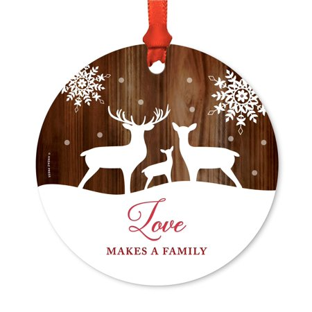 Adoption Round Metal Christmas Ornament, Love Makes a Family, Rustic Wood with Deer, Includes Ribbon and Gift Bag