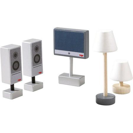 Little Friends Television Set & Lamps - 5 Piece Dollhouse Accessory Set for 4