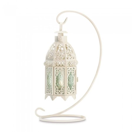 WHITE FANCY CANDLE LANTERN WITH