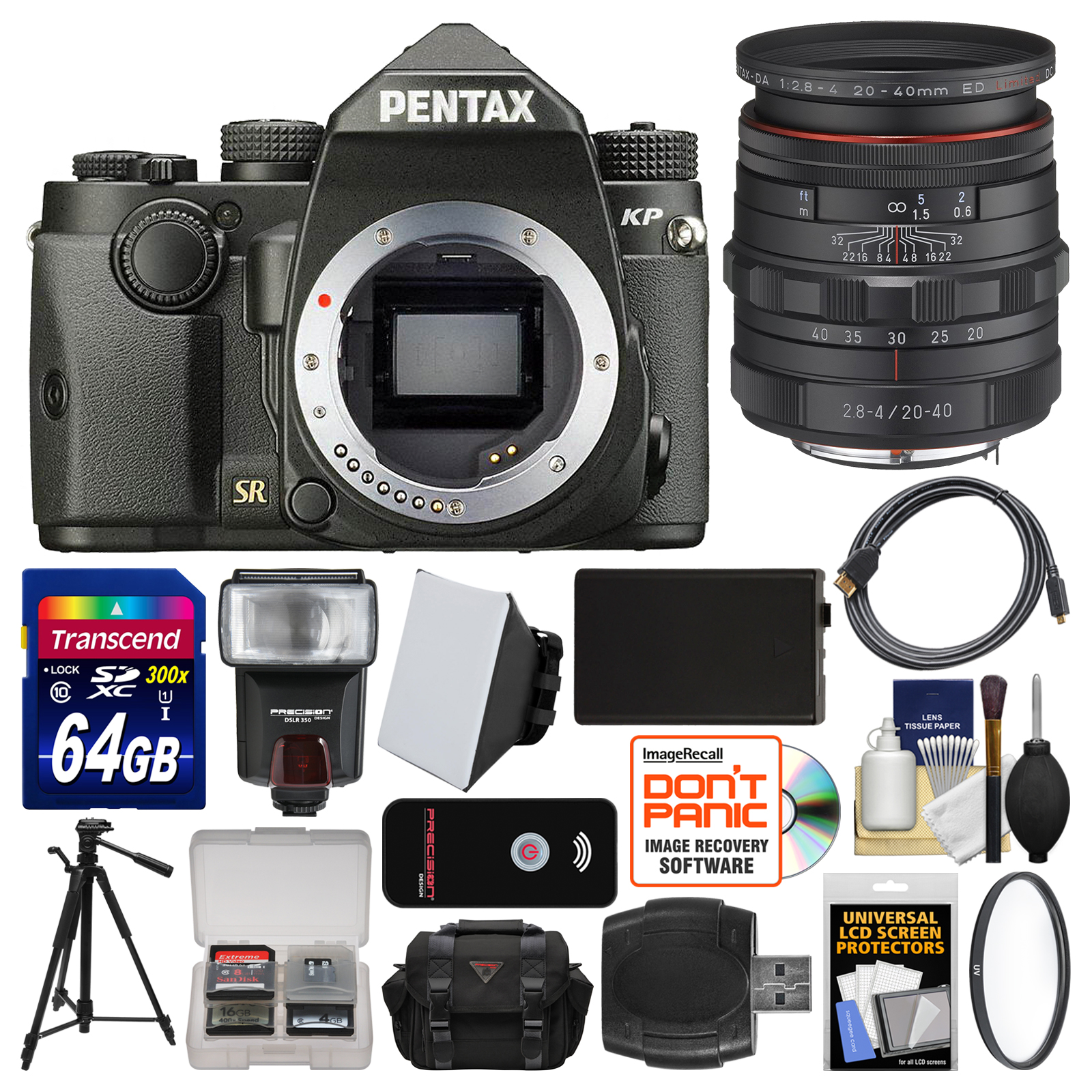 Pentax KP Wi-Fi Digital SLR Camera Body (Black) with 20-40mm Lens + 64GB Card + Case + Flash + Battery +... by Pentax