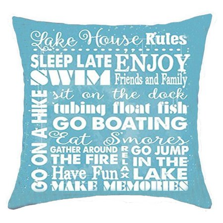 Life sentiment phrases Lake house rules Sleep late enjoy swim friends and family Cotton Linen Throw Pillow covers Case Cushion Cover Sofa Decorative Square 18 x 18 inch (2) 2 ()