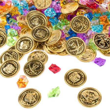 Pirate Gold Coins Buried Treasure and Pirate Gems Jewelry Playset Activity Game Piece Pack Party Favor Decorations (120 Coins + 120 Gems) by Super Z - Halloween Activities And Games