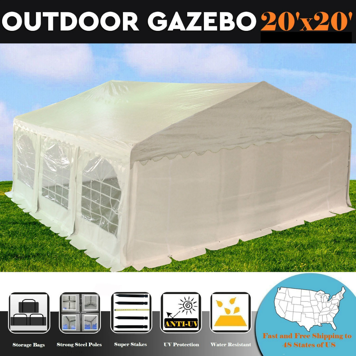 20'x20' PE White Tent  - Heavy Duty Wedding Party Tent Ca...