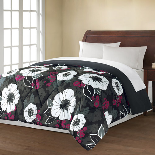 Mainstays Black and White Floral Printed Bedding Comforter