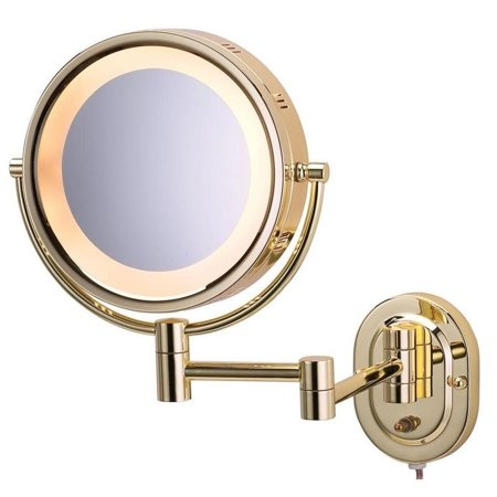 - 14.5 in. L x 9.75 in. Lighted Wall Mirror in Bright Brass