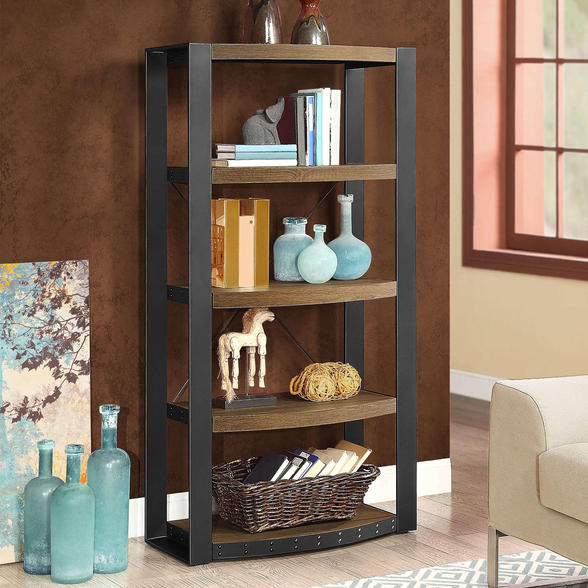 Whalen Santa Fe 5-Shelf Tower/Bookcase, Warm Ash Finish