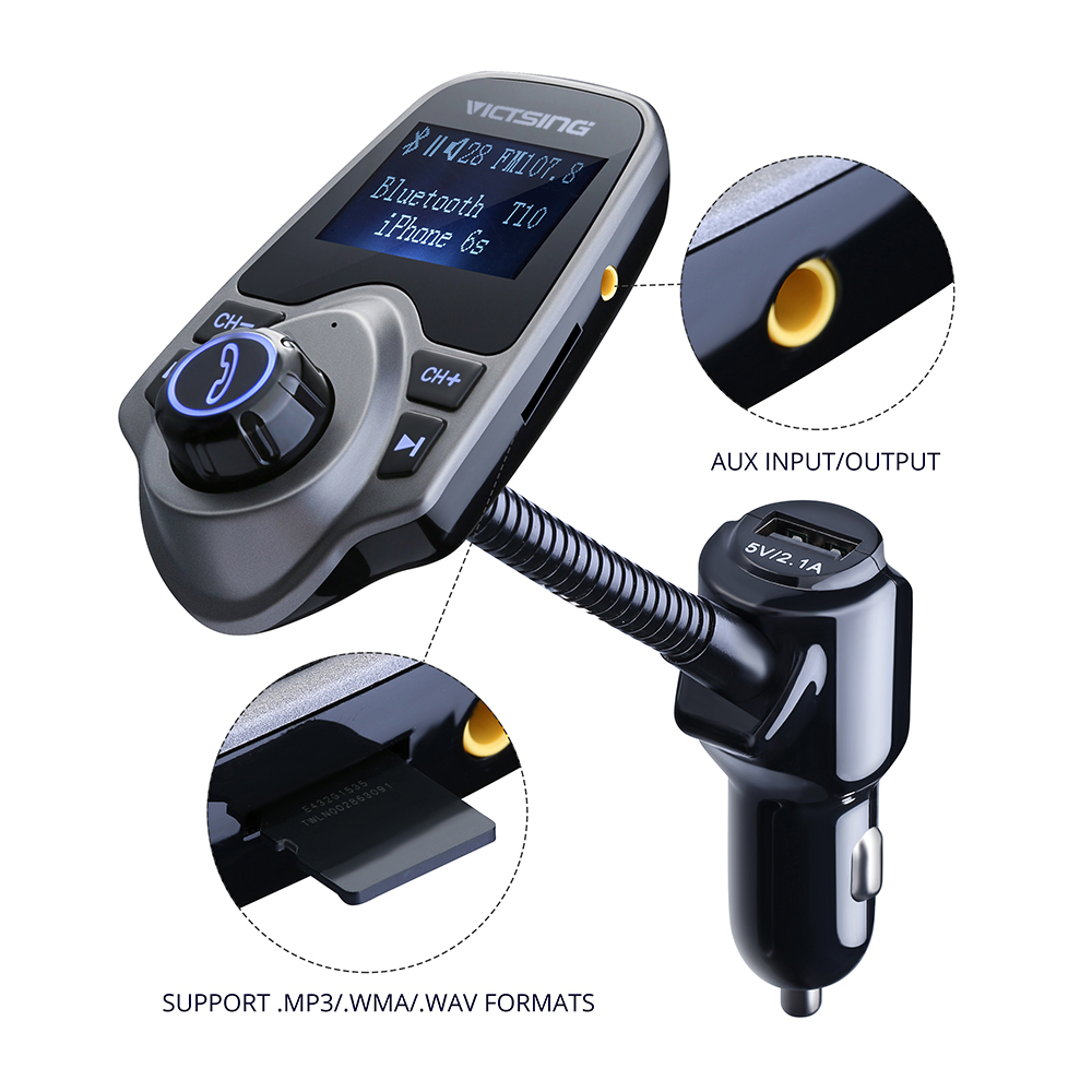 VicTsing Bluetooth FM Transmitter& USB Car Charger Wireless Car Kit with  3 5mm Audio Port, TF Card Slot, 1 44 Inches Screen Supports Display Car