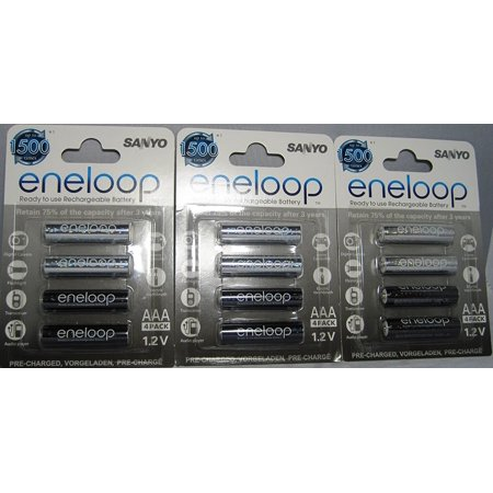 Sanyo Eneloop Rechargeable (SANYO eneloop AAA Ni MH Pre Charged Rechargeable Batteries X 12 batteries)