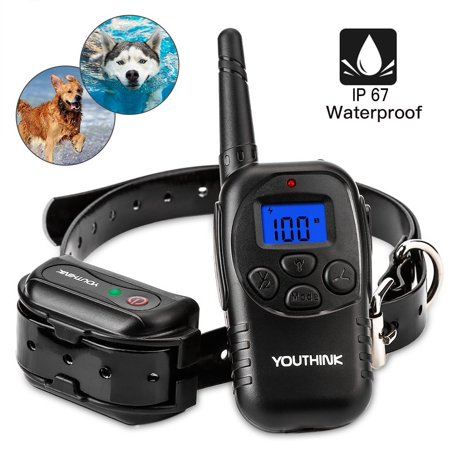 Dog Training Collar, 900ft 100% Waterproof Rechargeable Dog Shock Collar Remote Transmitter with Beep Vibrating Electric Shock Collar for All Size Dogs (10-100lbs)