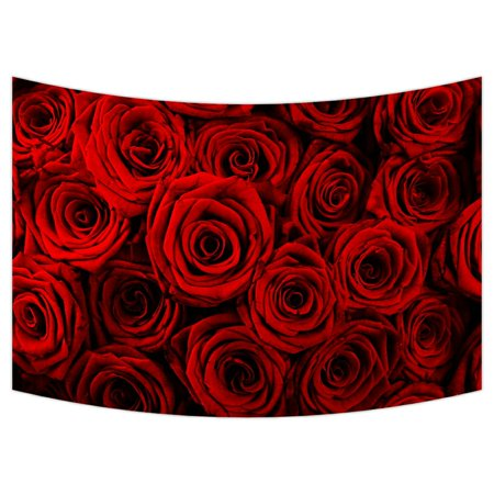 ZKGK Red Rose Flower Floral Pattern Tapestry Wall Hanging Wall Decor Art for Living Room Bedroom Dorm Cotton Linen Decoration 90x60 - Red Floral Tapestry