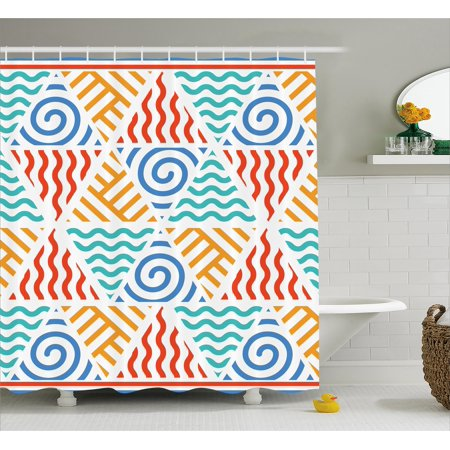Tribal Decor Shower Curtain Retro Pattern Symbols Of Four Elements