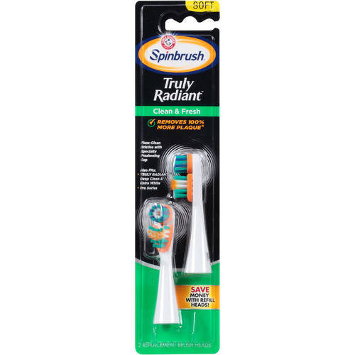 Arm & Hammer Spinbrush Truly Radiant Clean & Fresh Toothbrush Heads, Soft, 2 count