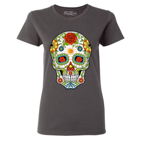 Shop4Ever Women's Day of the Dead Skull with Red Rose Eyes Graphic T-Shirt