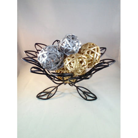 Decorative Spheres (Silver and Gold) Rattan Vase Filler Christmas Ornament