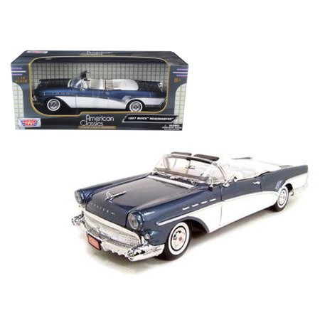 Buick Skyhawk Car - 1957 Buick Roadmaster Convertible Blue 1/18 Diecast Model Car by Motormax