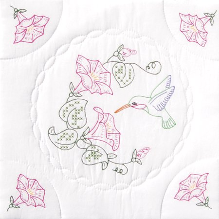 - Jack Dempsey Hummingbird And Morning Glories Stamped White Quilt Blocks, 18