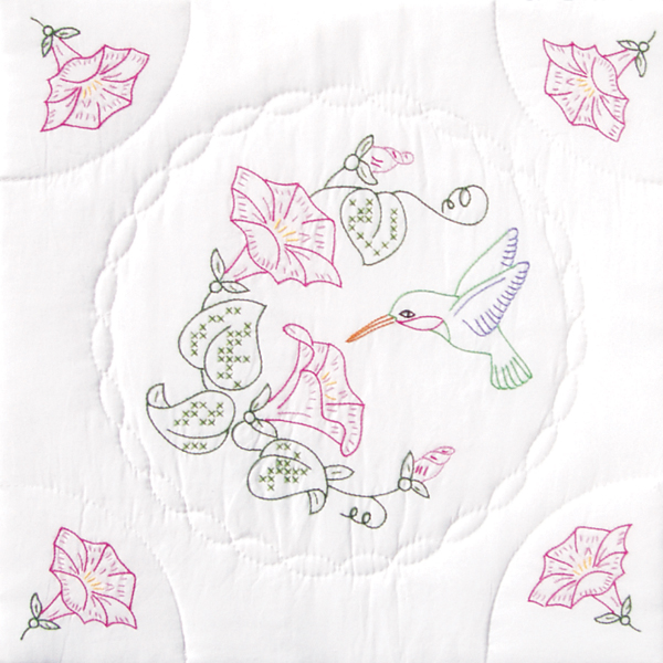 """Jack Dempsey Hummingbird And Morning Glories Stamped White Quilt Blocks, 18"""" x 18"""""""