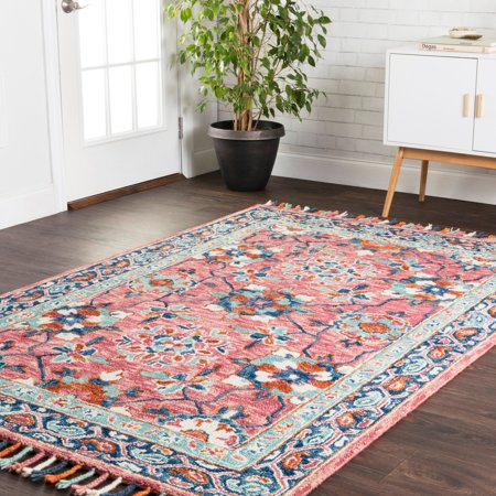- Alexander Home Hand-hooked Sonnet Rose/ Denim Wool Rug - 3'6 x 5'6