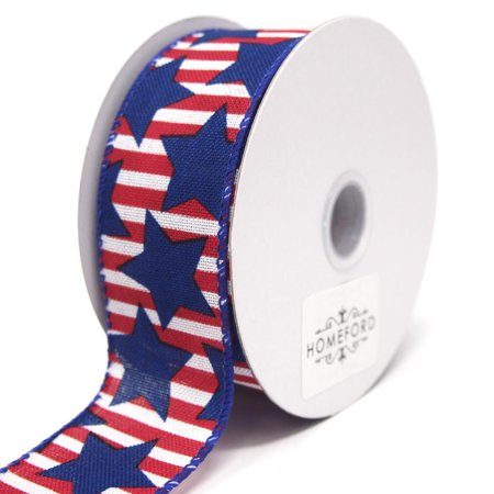 Big Blue Stars Red Striped Linen Wired Ribbon, 1-1/2-Inch, 10 Yards](Star Wars Ribbon)