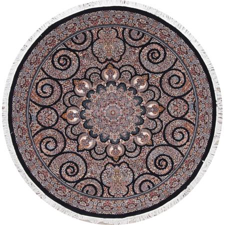 Black High Quality Wool Acrylic Oriental Hereke Round Rug 7x7 NEW! ()