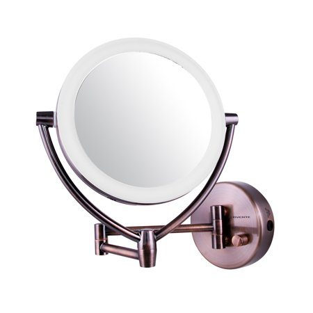 Ovente Led Lighted Wall Mount Makeup Mirror  7 5 Inch  Battery Or Usb Adapter Operated  1X 10X Magnification  Antique Brass  Mlw75ab