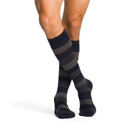 Midtown Microfiber 821CLSM13 Mens 15-20 mmHg Closed Toe Knee High; Dark Navy Stripe; Large And Short (Halloween Usa Midtown)