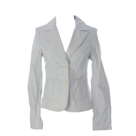 Doma Leather - Doma by Luciano Abitboul Women's Two-Button Leather Blazer Jacket Sz Medium White