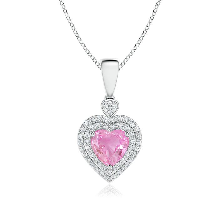 Angara Heart-Shaped Pink Sapphire Pendant with Diamond Halo