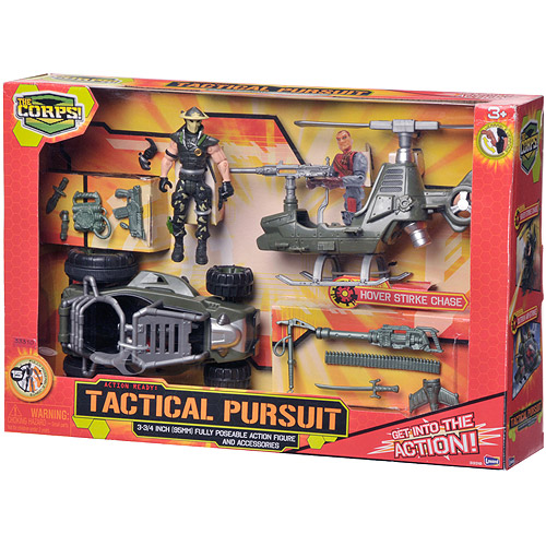 The Corps Tactical Pursuits Action Figure Play Set with Helicopter